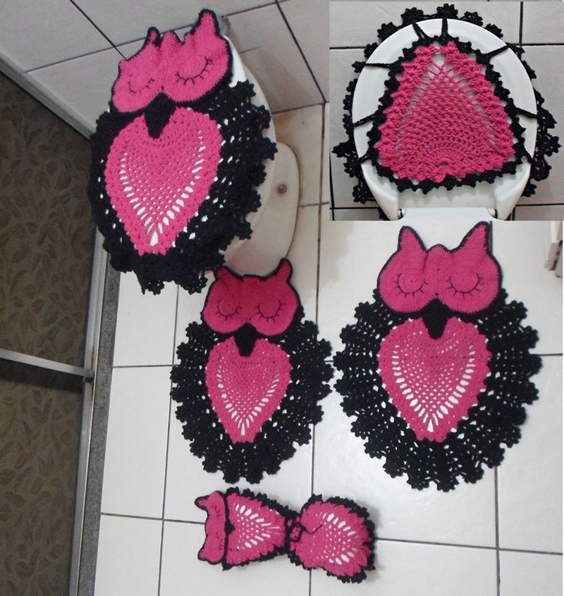 jogo de coruja de crochê preto e pink