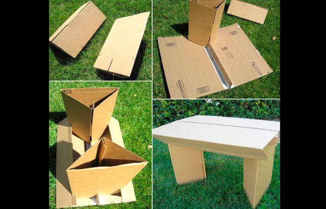 mesa com papelão jardim