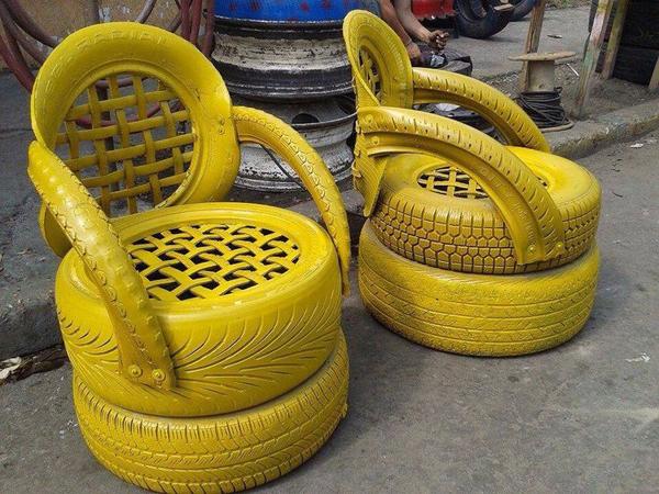 reciclagem com pneus poltrona