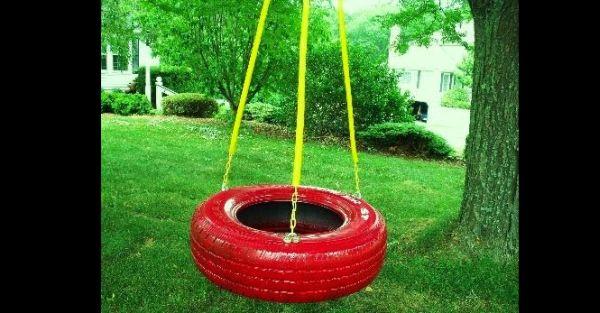pneus pintados para jardim balanço