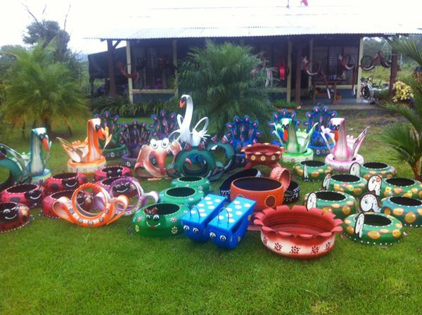 reciclagem com pneus animais