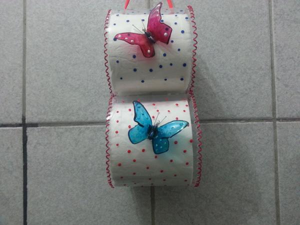 porta papel higiênico de garrafa pet decorado