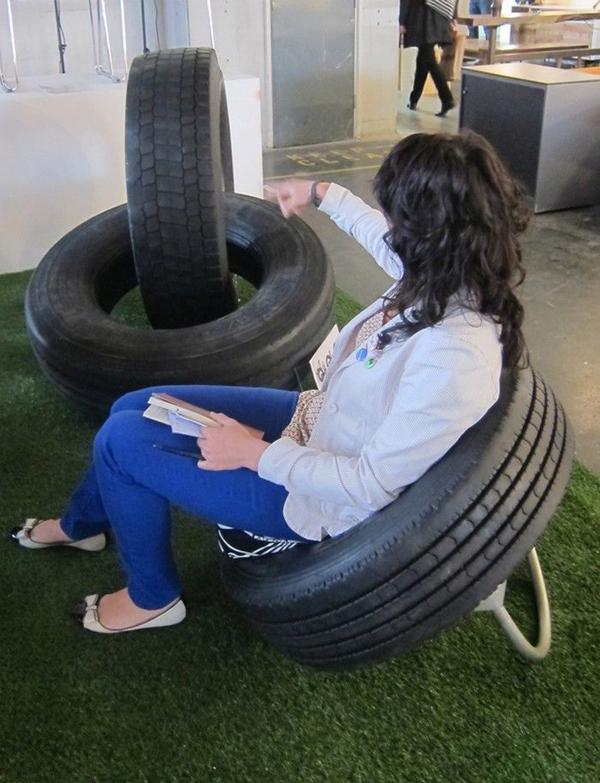 reciclagem com pneus cadeira