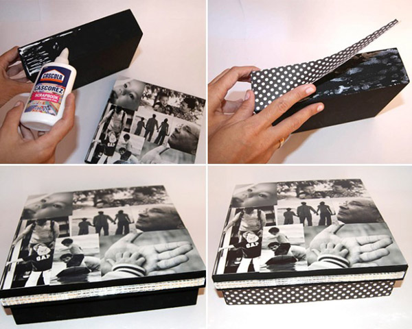 caixa decorada com fotos passo a passo