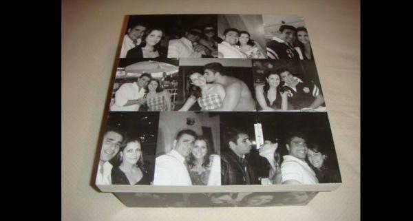 caixa  decorada com fotos simples