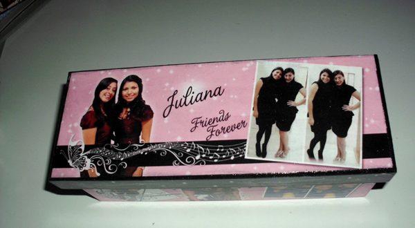 caixa decorada com fotos colorida