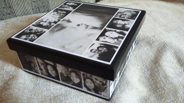 caixa  decorada com fotos bonitinha