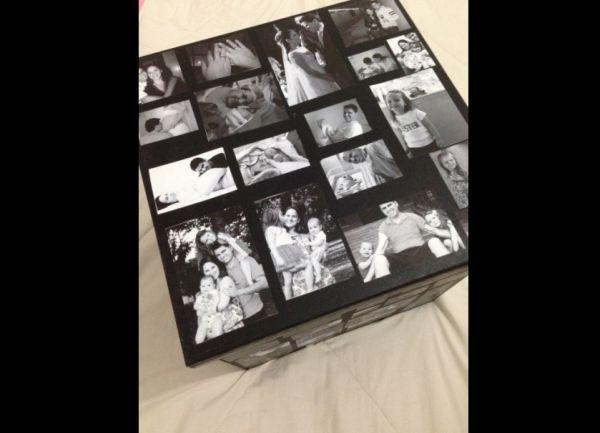caixa  decorada com fotos casamento