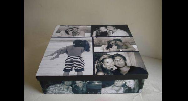 caixa  decorada com fotos como fazer