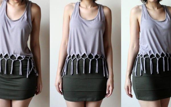 como customizar camiseta com franjas