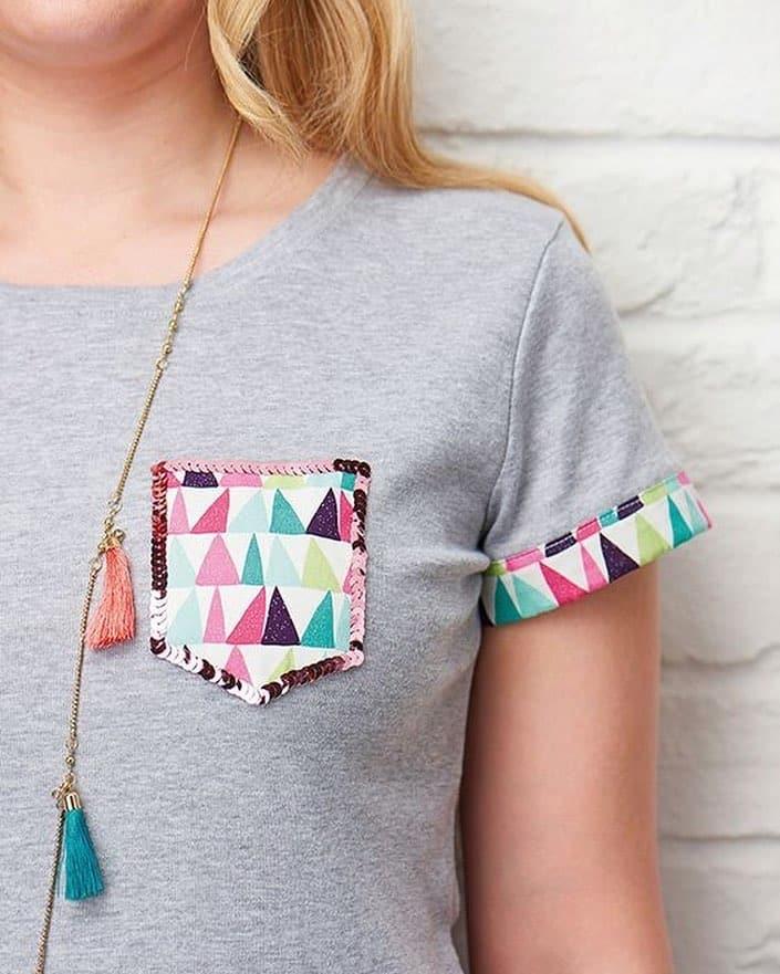 camiseta com patchwork