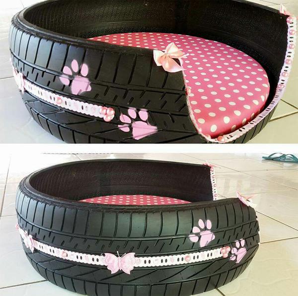 reciclagem com pneus cama