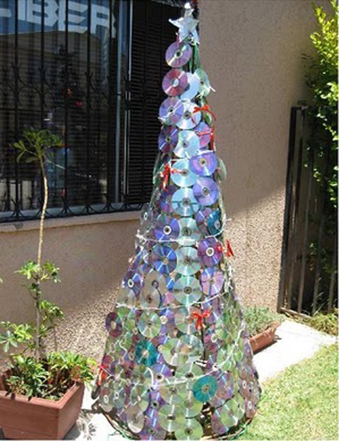 árvore natalina de cd