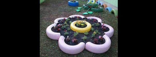 pneus pintados para jardim bonito
