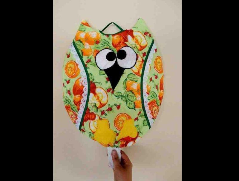 puxa saco de coruja colorido