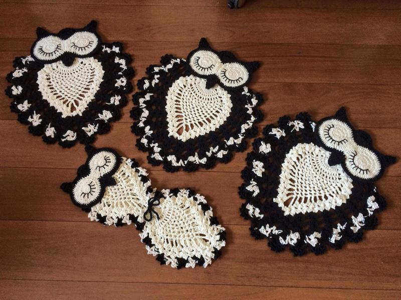 jogo de coruja de crochê preto