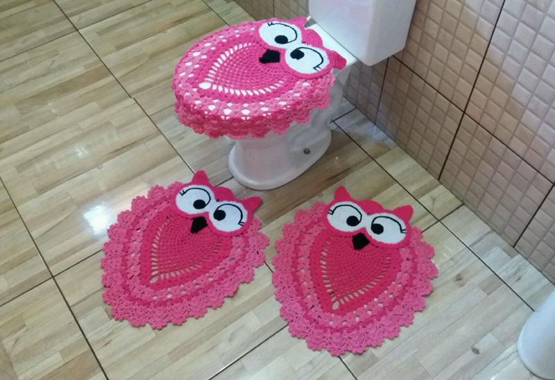 jogo de coruja de crochê rosa