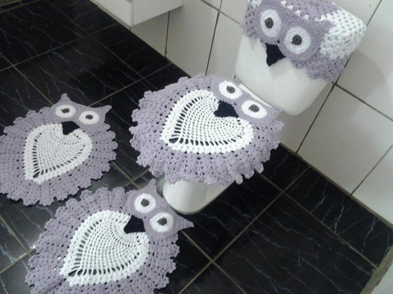 jogo de coruja de crochê lilás