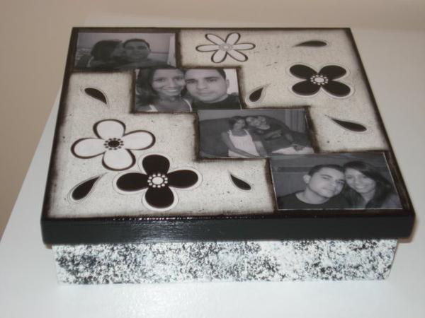 caixa  decorada com fotos namorados
