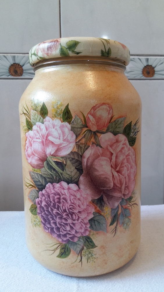 decoupage no vidro flores