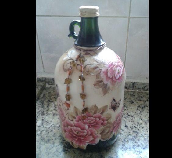 decoupage no vidro garrafão