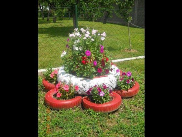 pneus pintados para jardim chique