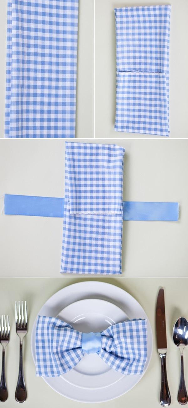 dobradura de guardanapo de papel laço