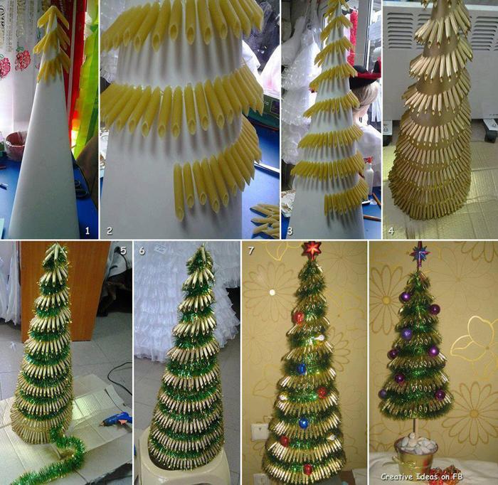 árvore natalina de macarrão
