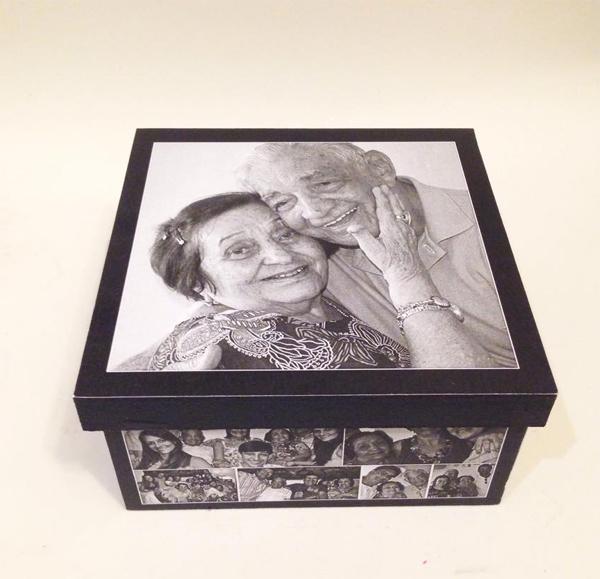 caixa  decorada com fotos lembrança