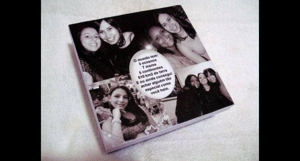 caixa  decorada com fotos com mensagem