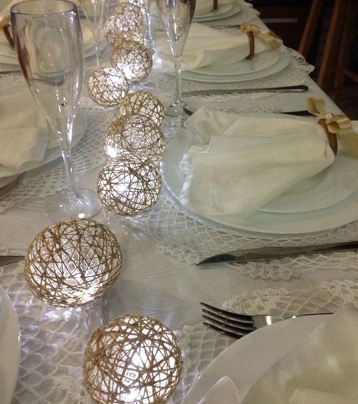 lustre de barbante de mesa