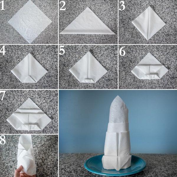 dobradura de guardanapo de papel torre