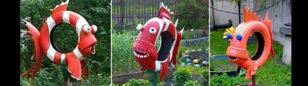 pneus pintados para jardim peixe