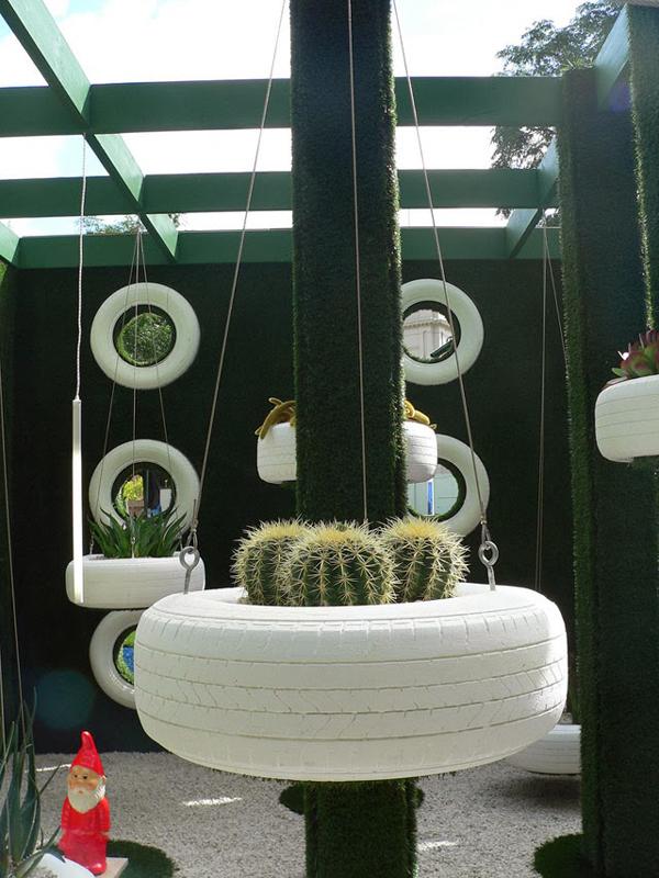 pneus pintados para jardim branco