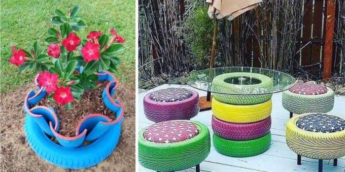 artesanato com pneus coloridos