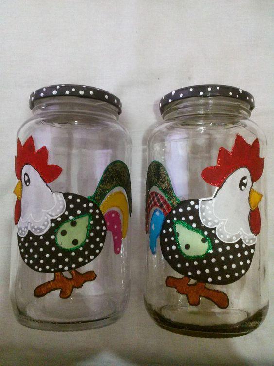 decoupage no vidro galinha