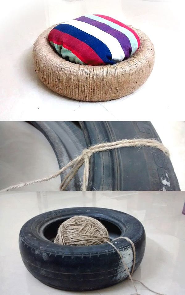 reciclagem com pneus puff