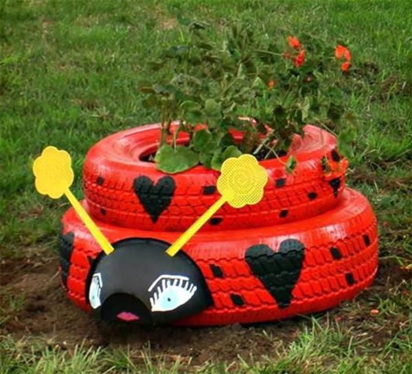 reciclagem com pneus joaninha
