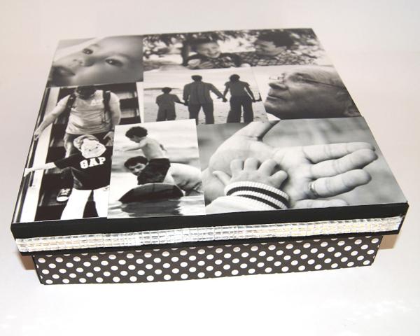 caixa  decorada com fotos comum