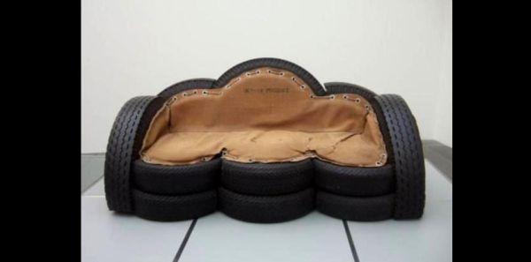 reciclagem com pneus sofá