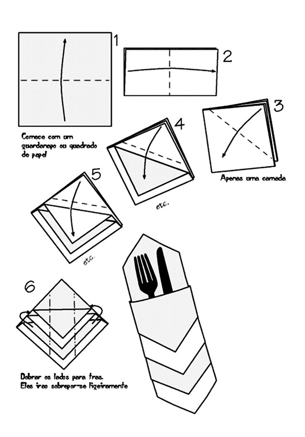 dobradura de guardanapo de papel talher