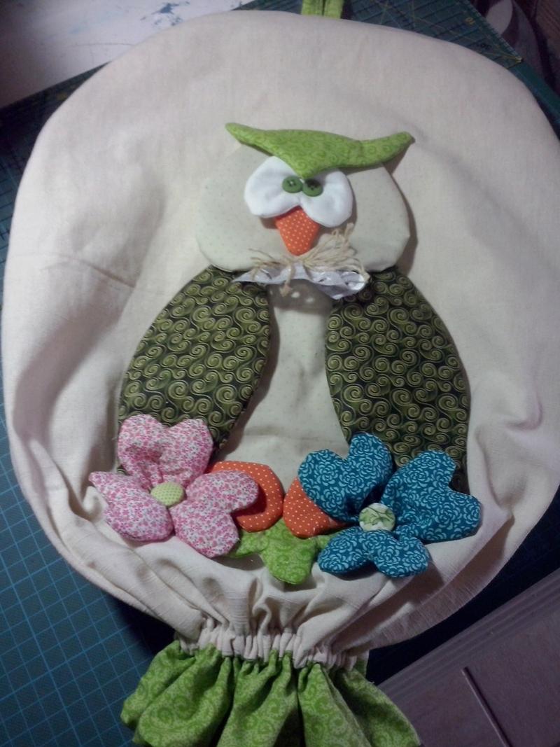 puxa saco de coruja com flor