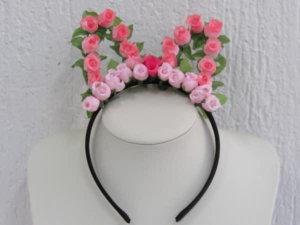 tiara de flores de gatinho rosa
