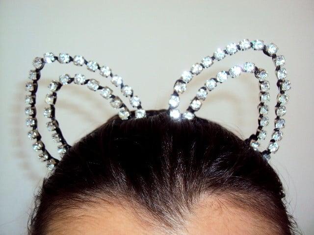 tiara de gatinho em strass grande