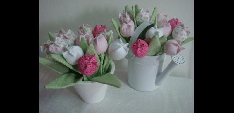 flor com tecido jarro