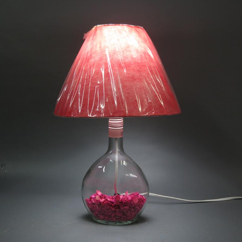 luminaria de garrafa de vidro pink