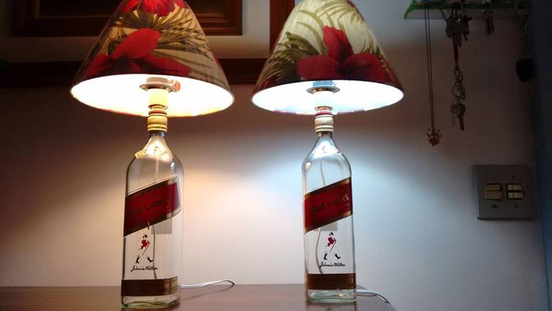 luminaria de garrafa de vidro chique