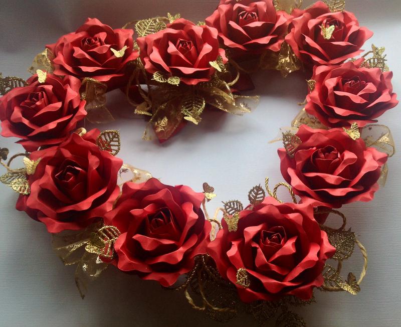 coração de flores rosa
