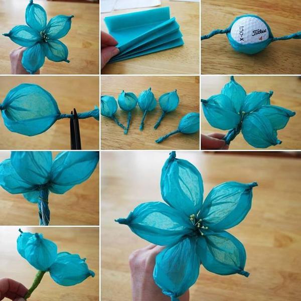 flor de crepom azul