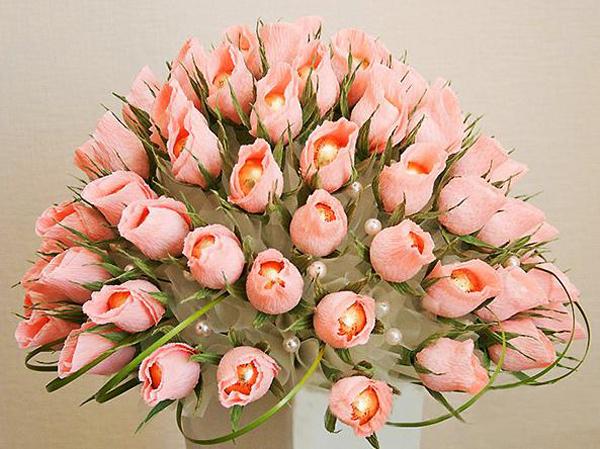 flor de crepom rosa cha